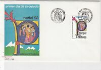 Andorra 1993 Religious Nadal '93 Slogan Cancel FDC Stamps Cover Ref 23836