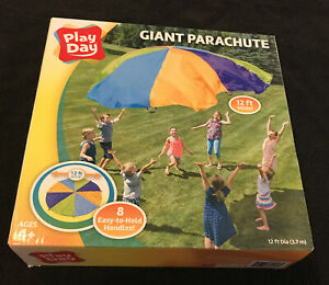 NEW Play Day Giant Parachute 12 Feet Wide with 8 Handles