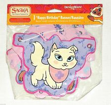 SAGWA THE CHINESE  SIAMESE CAT~~1-PAPER HAPPY BIRTHDAY BANNER  PARTY SUPPLIES