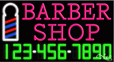 """NEW """"BARBER SHOP"""" W/YOUR PHONE NUMBER 37x20x3 NEON SIGN W/CUSTOM OPTIONS 15047"""