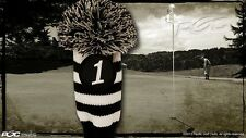 Driver #1 Vintage Retro Pom Pom Head Cover Knit Sock Black White Golf Headcover