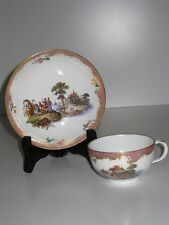 Meissen 18th Century Cup and Saucer Harbor Scene Painting ! RARE !