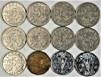 Canada 5 Five Cent Collection 1924 - 1945 (12) Coins