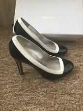 Versace Black And White Leather Slip On Court Shoes Size:3.5 35.5