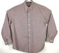 IZOD Mens Large L Red Blue White Check Button Down Long Sleeve Shirt #A127