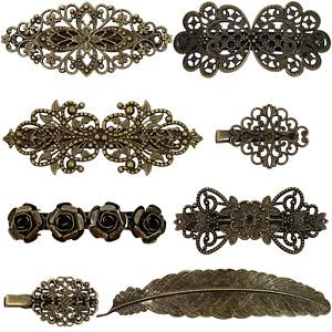 8 Vintage Hair Barrettes French Hair Clips Metal Bronze Hair Pins for Women Girl