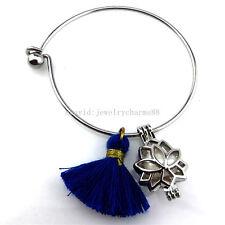 KB52 Flower Lotus Tassel Pearl Cage Akoya Oyster Cage Stainless Steel Bracelet