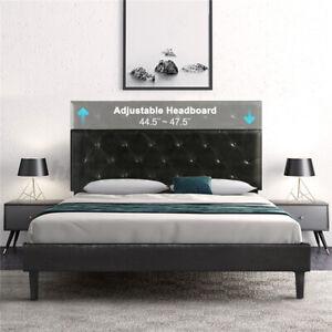 Full/Queen Size Metal Platform Bed Frame w/Upholstered Headboard Beds Wood