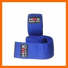 AUTHENTIC HMX KNEE WRAPS WEIGHT LIFTING BANDAGE STRAPS GUARD PADS BRACE GYM BLUE