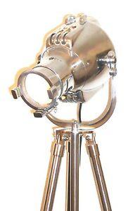 VINTAGE THEATRE LAMP ANTIQUE ART DECO SILVER FLOOR LIGHT EAMES ALESSI 1950'S