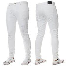 ENZO Designer Mens Super Stretch Skinny Jeans Ripped Distressed Blue Black Denim