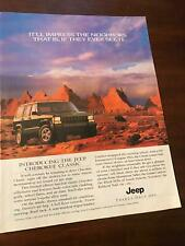 1996 VINTAGE 8X10.5 PRINT Ad FOR THE NEW JEEP CHEROKEE CLASSIC GRAND CANYON ++