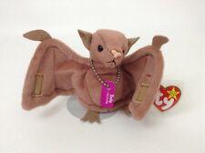 """1996 Ty Beanie Babies Batty Brown Bat w/ Dog Tags 4"""" Plush Halloween Toy w/ Tags"""