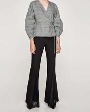 Zara Black Flared Lace Trousers Size M