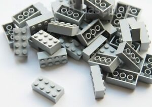 LEGO BRICKS 100 x LIGHT GREY 2x4 Pin - From Brand New Sets Sent in a Clear Seale
