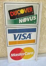 "Vintage Flange Double-Sided ""Discover Visa Mastercard"" Credit Card Metal Sign"