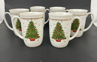 George Good Christmas Holiday Tree Porcelain Set Lot 6 Coffee Mugs