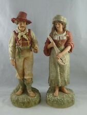 Pair of Victorian Parian Robinson & Leadbeater Tyrolean Musicians Figures