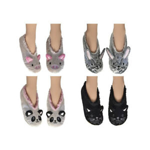 Ladies Teens Velour Animal Sherpa Slippers Pig Cat  Rabbit Sizes 4-7 UK FREE P&P
