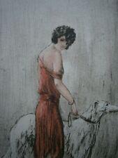 """GRAVURE """"Garçonne au lévrier"""" ART DECO MODE FEMININE ELEGANTE 1930 CADRE ANCIEN"""