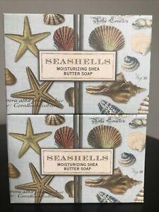 "2 Michel Design Works "" Seashells""Shea Butter Bar Soaps Mother's  Day GIFT"