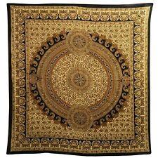 Colcha Paisley marrón negro beige 230x210cm India cortina algodón decoración