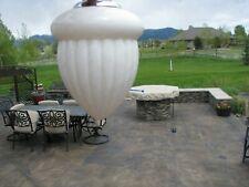 White Milk Glass Acorn Pattern Lightning Rod Ball Pendant