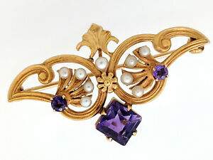 14K Yellow Gold Amethyst and Seed Pearl Estate Brooch Pin