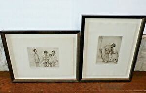 Set of Two Knute Heldner Southern Etching Print African American Signed Framed