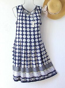 New~$98~Navy Blue White & Yellow Daisy Shift Boho Spring Dress~Size Medium M