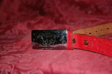 """Child's Vintage Sears/Chambers Belt Co. Tooled Leather Belt Waist 24""""-26"""" Red"""