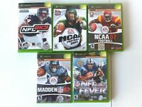 Lot Of 5 Games Xbox Madden Ncaa NFL Fever Football 03-07-2K3-07-03 C1