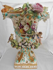 Coalport Vase Coalbrookdale Flower Encrusted Porcelain Painted H 37cm