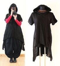 Schwarz Gr 44 46 48 50 Lagenlook KAPUZE LONG TUNIKA Gothic Vintage Shirt Top XXL