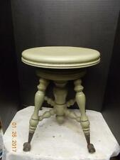 Antique Piano Stool Glass Ball & Claw Foot Wood VINTAGE ORGAN BENCH
