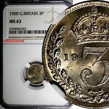 Great Britain Victoria Silver 1900 3 Pence NGC MS63 Maundy KM# 777