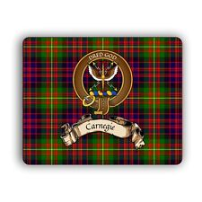 Carnegie Scottish Clan Mousepad Tartan Crest Motto Computer Mouse Pad Mat Family