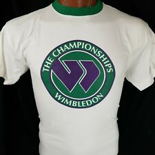 Official Wimbledon The Championships Tennis White Green Graphic T Shirt M / L