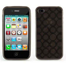 Silikon Schutzhülle TPU Case Retro Kreis Muster Apple iPhone 4 4S Hülle Schwarz
