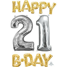 21st Happy Birthday Foil Phrase & Number Balloon Silver & Gold Age 21 Decoration