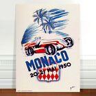"Vintage Auto Racing Poster Art ~ CANVAS PRINT 8x10"" Monaco 1950"