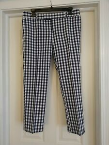 Womens Banana Republic Mad Men Collection Gingham Check Crop Pants 6 Navy White