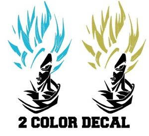 Vinyl Decal Truck Car Sticker Laptop  Dragon Ball Z 2 Color Super Saiyan Goku