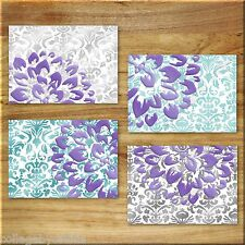 Purple Teal Wall Art Prints Decor Elegant Damask Floral Flower Aqua Gray Dahlia