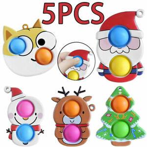 5pcs Popit Bubble Sensory Toy Simple Dimple Fidget Antistress Xmas Santa Toys UK