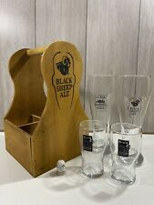 More details for black sheep brewery 4 x glasses 2 x pint 2 x half glasses + wooden beer carrier