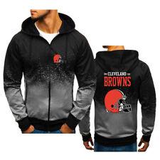 Newest  Cleveland Brown Hoodie Jacket Sporty Sweatshirt Zipper Coat Autumn Tops