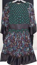 Gianni Bini Kimono Silky Multi Color Paisley Dress Size 12