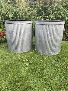 Pair Medium galvanised metal grey round dolly tub  Style garden New Design