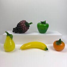 Set of 5 Vintage Handmade Color Glass Fruit - Grapes Banana Orange Pear Apple